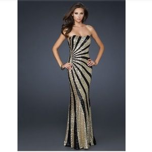 La Femme Sequin Gold and Black Striped Gown
